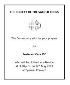 Prayer Request for Postulant Cara SSC